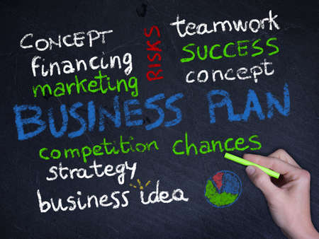 business plan concept on chalkboard