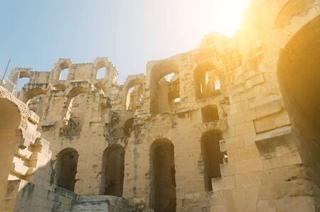 Sunlight in the ruins of an ancient Roman amphitheater in El Jem, Tunisia
