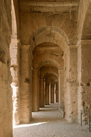Hallways of El Jem, with is the third largest amphitheater of the Roman Empire in Tunisia, North Africa