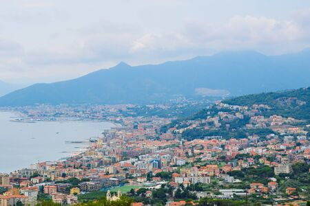 Panoramic view of the Mediterranean bay from above from Borgio Verezzi, located in the Ligurian Mountains above the Mediterranean Sea in Italy