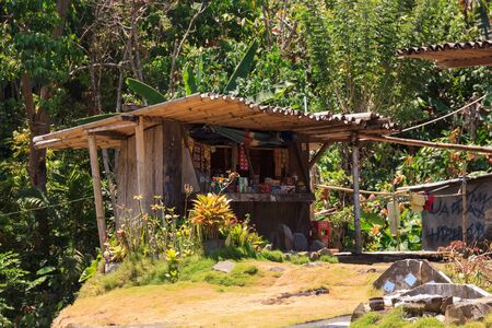 Small local shop in the Bena traditional village, near Bajawa, Flores, Indonesia Stock fotó