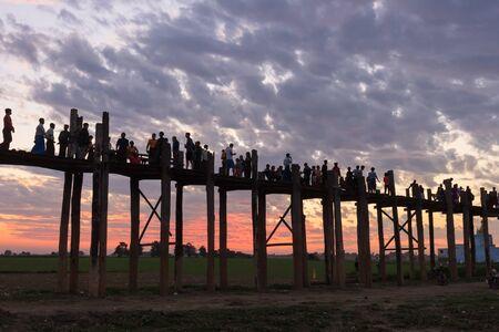 The U Being walking bridge at sunset, Mandalay, Myanmar