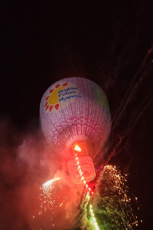 Taunngyi, Myanmar, November 23 2018 - The Hot Air Balloon festival in Taunggyi is a four day festival celebrated yearly in november. Tens of thousands gather every year.
