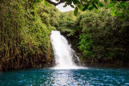 The scenic waterfalls on the African island Mauritius 스톡 콘텐츠
