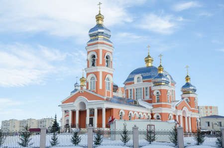 sunday school: The temple complex consists of main temple of St. Seraphim of Sarov, the temple of an icon of the Mother of God Tenderness, Sunday school, library and administrative domestic premises. Russia, Republic of Tatarstan, city of Kazan.