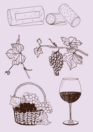 Hand drawn vector wine set Illustration