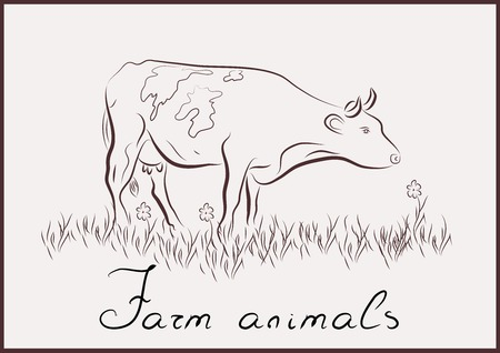 cattle grazing: cow farm animal Illustration