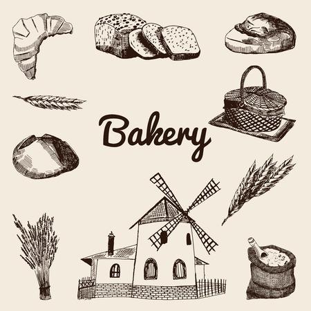 wheaten: Bakery sketch background.