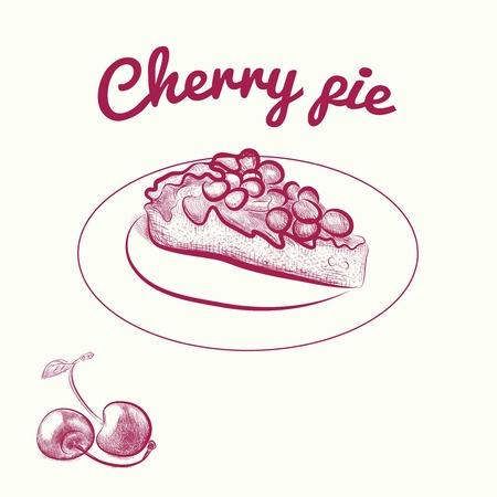 tarte aux cerises: tarte aux cerises. dessins vectoriels