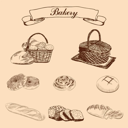 breadstick: set of bakery. vector sketches. hand draw
