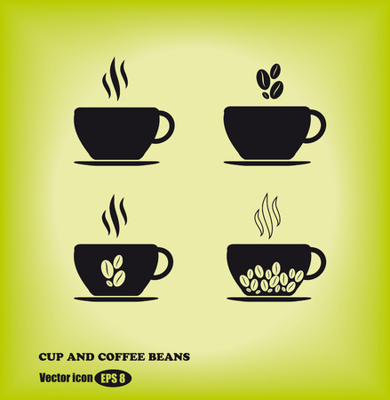 cup and coffee beans icons on backgrounds. vector set of four pieces Vector