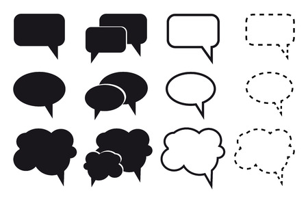 cons: Speech bubble icons on white background. Vector illustration.