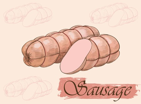 bacon art: Vector colorful sketch of two sausages