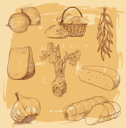 collection of hand drawn food photo