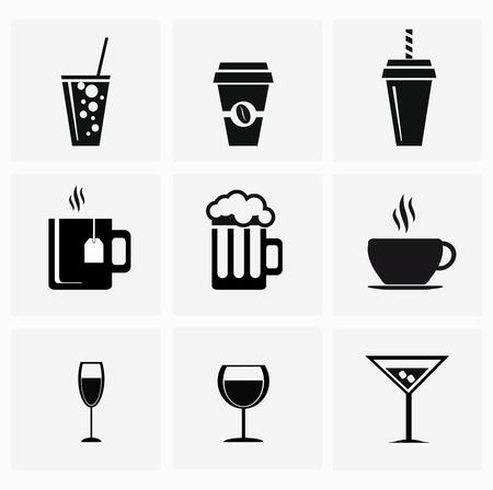 rinfreschi: nove bevande set di icone su sfondo grigio