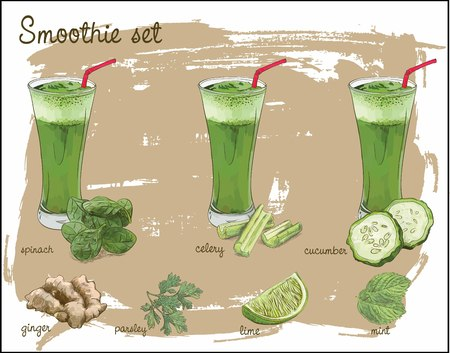 A green smoothie set with vegetable, citrus and spices