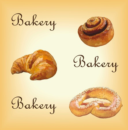 sesame: bakery set with colorful croissant, roll with cinnamon and pretzel with sesame