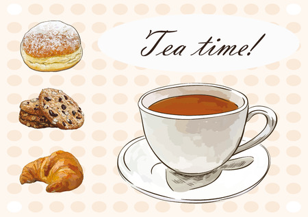 oat: tea time set with cup of tea, oat cookies, croissant and beautiful background