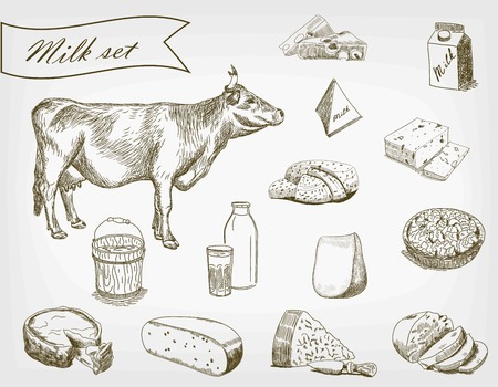 dairy products: milk set with cow and dairy products Illustration