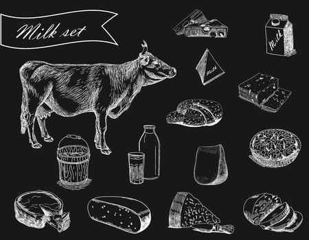 milk set with cow and dairy products in chalk on black background