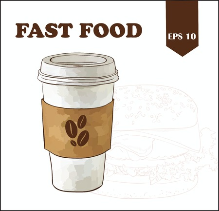 out of use: A coffee cup vector illustration with coffee beans on label