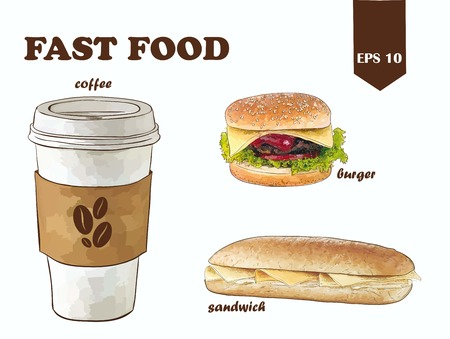 vector de comida rápida configurado con café, hamburguesa y sándwich Ilustración de vector