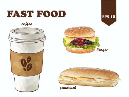 vettore fast food impostato con caffè, hamburger e panino Vettoriali