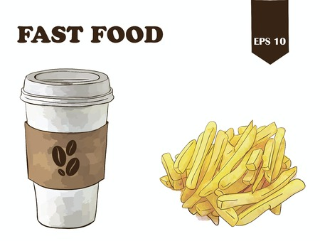 coffee with potatoes Illustration