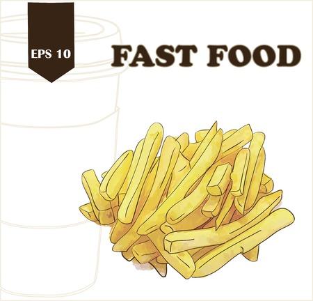 main dishes: Potatoes fries Illustration