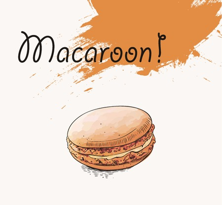 macaron: Hand drawn illustration of french macaroon with backfround Illustration