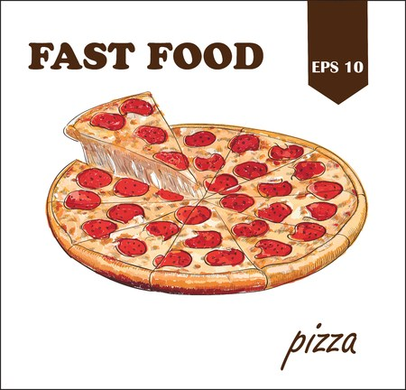 Set of pizza with slices. Hand drawn food. Sketch style vector illustration
