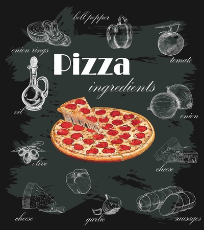 pizza with ingredients on chalkboard Ilustração