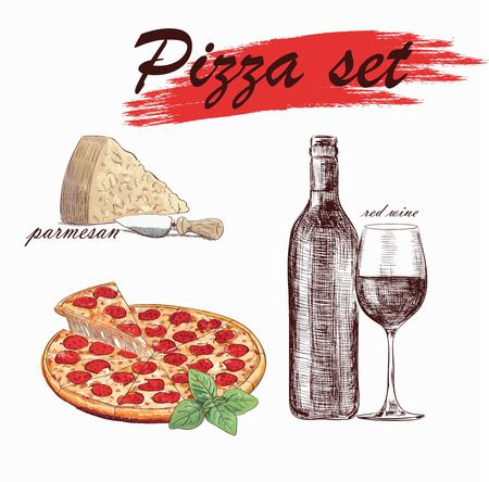 pizza set with wine