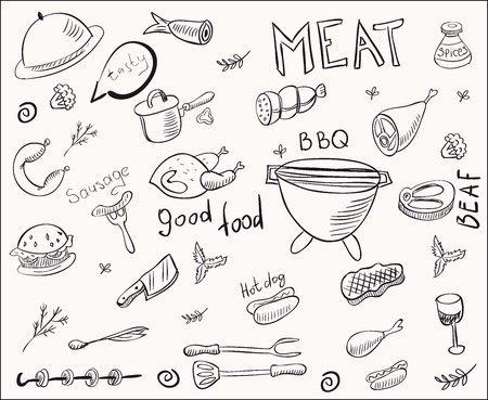 main dishes: Some doodles of meat