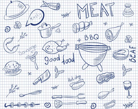 doodles of meat on paper