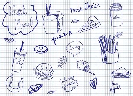 Fast food doodle set as a blue sketch on paper Иллюстрация