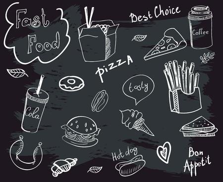 Vector set of fast food doodle on chalkboard