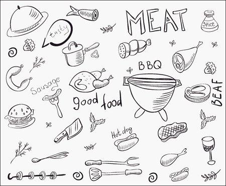 vector meat doodle set