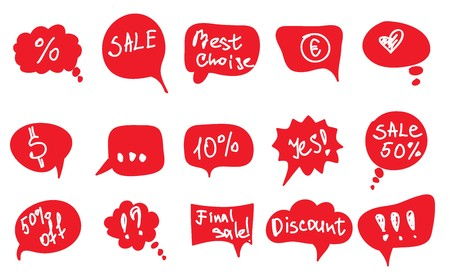 red vector speech bubbles with text on white background