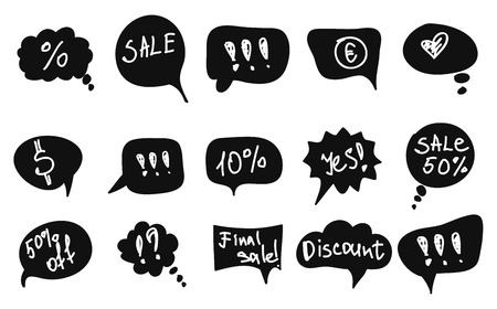 black vector speech bubbles with white message