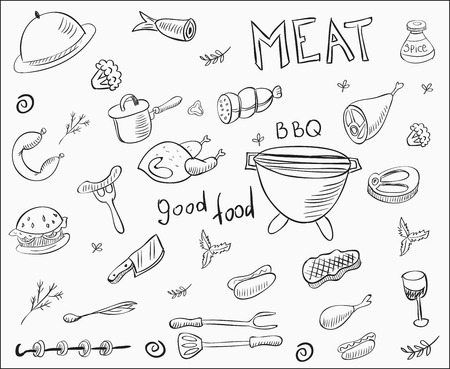 Meat doodle collection.
