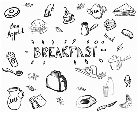 Decorative hand drawn icons breakfast foods. Doodle vector illustration breakfast