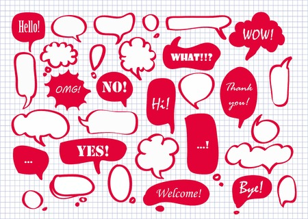 Collection of red vector speech bubbles Иллюстрация