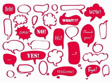 Set of red speech bubbles, frames with text