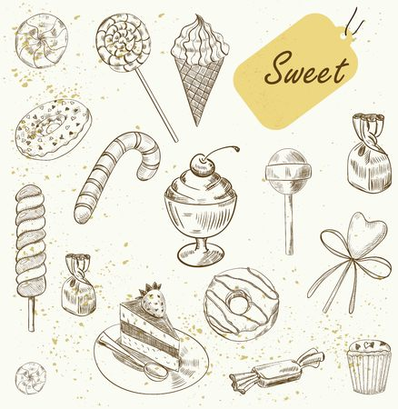 Collection Hand drawn of various beautiful desserts. Sketch Vector illustration.