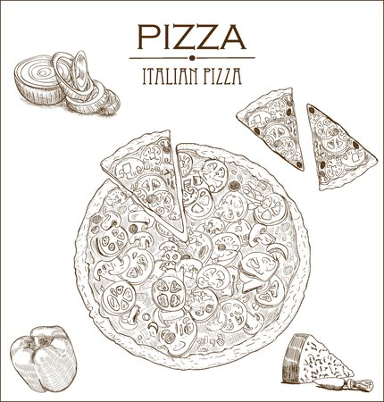 Collection of vector sketch pizza with bell pepper, tomato, onion and olives. Иллюстрация