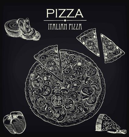 Pizza sketch on a black board