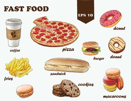 Set of colorful cartoon fast food. Isolated vector. Фото со стока