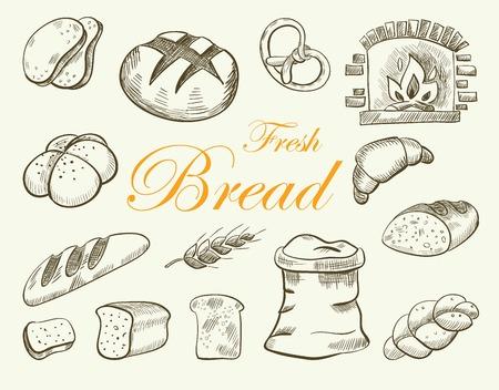 Bread vector hand drawn set illustration. Иллюстрация