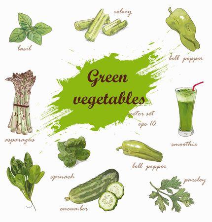 Green vegetables vector set Иллюстрация